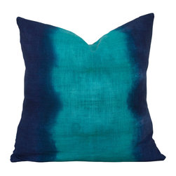 The Tangled Path - Emerald and Indigo Stripe Pillow - Silky smooth 100% cotton twill has been dyed in calming shades of emerald green and indigo.
