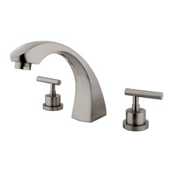 Kingston Brass - Two Handle Roman Tub Filler - Solid brass construction for durability and reliability, Premium color finish resist tarnishing and corrosion, 13.0 GPM at 60 PSI, 7 1/2in. spout reach, 7 1/4in. spout height, 5 1/8in. spout clearance, 3/4-14NPS, 1/4 turn ceramic disc cartridge, 8-36in. widespread installation, Ten year limited warranty.