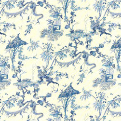Yosca Fabric, Blue - This blue and white chinoiserie toile would be such a great choice for curtains in a white kitchen.