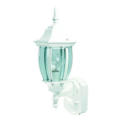 Heath Zenith - Heath Zenith SL-4192-WH-A 1 Light 180 Degree Motion Activated Six-Sided Diecast - Heath Zenith SL-4192-WH-A 1 Light 180 Degree Motion Activated Six-Sided Diecast Aluminum Security Wall Sconce, White with Beveled GlassProviding both beauty and security for your home, the Heath Zenith SL-4192-WH provides full 180 degree motion sensing. This gorgeous Lamp is made of sturdy die-cast metal with a weather-resistant finish that will last for years. The design incorporates clear, curved beveled glass in a antique bronze housing. The 2-level brightness and 30 foot detection range, make this a very stylish and practical security lamp.Heath Zenith SL-4192-WH-A Features: