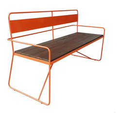 Haskell - REPAST Bench - This bench works — hard. Made with certified environmentally appropriate hardwood and domestically sourced, 85 percent recycled-content steel, it brings high style, low maintenance, ecoconsciousness and rugged durability to your modern outdoor setting.