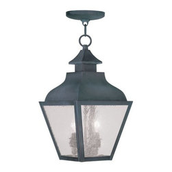 Livex Lighting - Livex Lighting 2453 Vernon Outdoor Pendant - Livex Lighting 2453 Vernon Two Light Outdoor PendantDesigned to resemble the classic outlines of a kerosene lamp, the Vernon two light outdoor pendant features a beautiful curved roof with a chimney style decoration topped by a ringed finial. The four large seeded glass panes will create a timeless rustic atmosphere for any home.Livex Lighting 2453 Features: