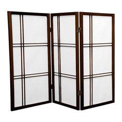 Oriental Furniture - 3 ft. Tall Double Cross Shoji Screen - Walnut - 3 Panels - This three foot tall folding screen adapts a traditional Japanese design for the modern home. Shoji rice paper, valued for its beauty and lightweight design, has been used in Japan for over a thousand years to divide space and provide privacy without blocking off light. This room divider elegantly complements any style of interior decor and is a great way to partition a room, hide the space beneath a table or desk, or add cosmopolitan flair to the home or office.