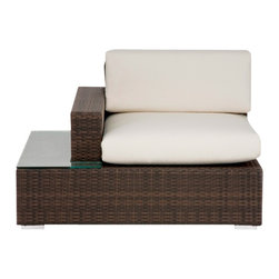 Source Outdoor - Manhattan Left Arm Facing Lounge Chair - Included Off-White cushions are made of thick outdoor foam covered in durable white outdoor polyester fabric. Color/Finish: Espresso. Material: High Density Polyethylene Wicker. No Assembly required. Frame made with high quality powder coated aluminum to prevent rust and corrosion. Weave is made of High Density Polyethylene, which ensures the long lasting beauty of the furniture. Built to Hospitality grade and meant to be outside in the elements 24/7 . 37 in. L x 42 in. W x 32 in. H, (53 lbs). It is recommended that furniture not be stored upside down