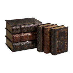 Cassiodorus Book Box Collection Set of 6 - Faux leather detailed Cassiodorus book box collection