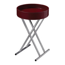 Sterling Industries - Sterling Industries 6043650 Felton Tray Table - Red - Modern Design With Flexibility. Chrome Legs Fold For Storage And Faux Croc Crimson Tray Top Becomes A Multi-Purpose Serving Tray. A Splash Of Red Pops In Any D��cor.  Tray Table (1)
