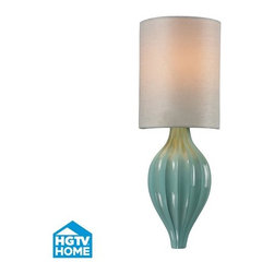 ELK Lighting - ELK Lighting 31360/1 HGTV Home Lilliana Single-Light Wall Sconce with White Text - The Lilliana collection features fluted ceramic with a gently curving silhouette and a refined frame that will add a light and airy feel to any d�cor. This series is offered in two finishes including aged silver, seafoam ceramic and white textured linen shades, or aged bronze with cream ceramic and beige textured linen shades. Features: