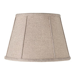 "Lamps Plus - Traditional Linen Beige and Gray Weave Lamp Shade 8x12x8.5 (Spider) - Top any lamp with this lovely softback lamp shade. The drum shade features a self trim on the top and bottom and ribs throughout for added texture. The correct size harp is included free with this shade. Softback drum lamp shade. Linen fabric with beige and gray weave. Chrome spider fitter. White polyester lining. Self trim on top bottom and ribs. 8"" across the top. 12"" across the bottom. 8 1/2"" on the slant. 8 1/4"" high.  Softback drum lamp shade.   Linen fabric with beige and gray weave.   Chrome spider fitter.   White polyester lining.   Self trim on top bottom and ribs.   8"" across the top.   12"" across the bottom.  8 1/2"" on the slant.  8 1/4"" high."