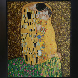 """overstockArt.com - Klimt The Kiss Oil Painting (Full View) Oil Painting - 20"""" x 24"""" Oil Painting On Canvas Hand painted oil reproduction of a famous Klimt painting, The Kiss Full view. The original masterpiece was created in 1907-08. Today it has been carefully recreated detail-by-detail, color-by-color to near perfection. Gustav Klimt, the Vienna master painted the Kiss oil painting in 1907. The painting depicts a couple surrounded by a gold blanket and ornaments sharing a moment of sheer passion - the perfect kiss. In the oil and gold masterpiece, the man appears standing as he holds in his arms the kneeling woman. The two seem to be positioned on a flower field, kissing, totally engaged with one another. The woman seems to be following the lead of her partner, but is not taking an active part. The patterns of the man are mostly black and white rectangles, while the woman is engulfed in flowers. The identity of the people depicted in this oil painting is not exactly clear; some suggest that it is Klimt himself and his beloved partner, Emilie Floge. However, that is sheer speculation as Klimt made it a point never to paint himself. Gustav Klimt (1862-1918) was one of the most innovative and controversial artists of the early twentieth century. Influenced by European avant-garde movements represented in the annual Secession exhibitions, Klimt's mature style combines richly decorative surface patterning with complex symbolism and allegory, often with overtly erotic content. This work of art has the same emotions and beauty as the original. Why not grace your home with this reproduced masterpiece? It is sure to bring many admirers!"""