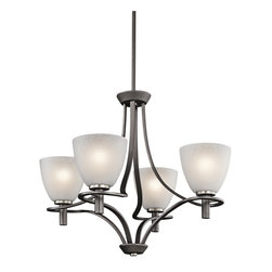 Kichler Lighting - Kichler Lighting Neillo 4-Light Transitional Chandelier X-IVA62034 - This 4 light chandelier from the Neillo collection balances a deep, textured anvil iron finish with brushed nickel accents and textured feather glass shades. Each arm softly curves around the stem of the globes, creating a light and airy effect. Sloped ceiling kit included.