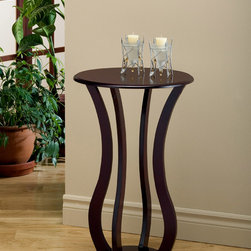None - Cherry Veneer Accent Table - This simple contemporary accent table can be an ideal spot to place your keys and purse after a long day at work. Curved shape and wavy legs define this transitional piece.