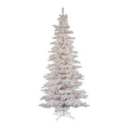 Flocked White Slim Pre-lit Christmas Tree - Make this beautiful Christmas tree the center of your Christmas celebrations. The Flocked White Slim Pre-lit Christmas Tree comes in five convenient sizes and has clear colored lights that accentuates the overall appeal. Its height ranges from 6.5 ft to 12 ft and the base width ranges from 39 inches to 65 inches. Set it up and place your gifts at the bottom of this slim flocked Christmas tree. It is made of PE/PVC and lasts for a long time. It can be easily assembled and repacked for the next Christmas season. Specifications for a 6.5 foot TreeShape: SlimBase Width: 39 inchesNumber of Bulbs: 300 Number of Tips: 744 Specifications for a 7.5 foot TreeShape: SlimBase Width: 43 inchesNumber of Bulbs: 400 Number of Tips: 1019 Specifications for a 9 foot TreeShape: SlimBase Width: 49 inchesNumber of Bulbs: 550Number of Tips: 1391 Specifications for a 10 foot TreeShape: SlimBase Width: 55 inchesNumber of Bulbs: 650Number of Tips: 1805 Specifications for a 12 foot TreeShape: SlimBase Width: 65 inchesNumber of Bulbs: 1000Number of Tips: 2781