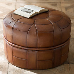 """Horchow - Petal Leather Pouf - Whether you use it as a seat, a footrest, or a unique side table, this pouf is a decor essential. Choose color below. Handcrafted of hand antiqued Italian buffalo leather on a wood frame. 23""""Dia. x 15""""T. Imported. Boxed weight, approximately 30 lbs. Please note that this item may require add"""