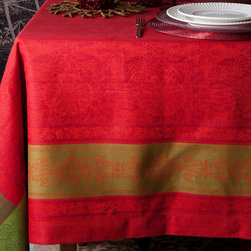 Floral Jacquard Christmas Tablecloth - This jacquard tablecloth will set the stage for the most elegant and glamorous holiday dinner parties.