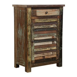 Shabby Chic 1 Drawer 1 Door Cabinet - A wonderful story. A green story. Restored and available for a new, eco-friendly generation. Inspired by the hand tools used in ancient art of printing fabrics and by centuries-old hand carved panels adorning the inside and facades of aged buildings. The perfect piece of handmade artwork to incorporate into any bedroom or livingroom.