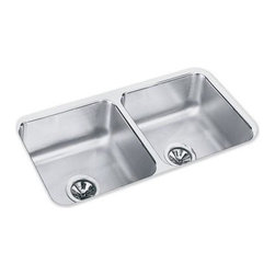 Elkay - Gourmet Lustertone Undermount Sink - ELUH3116 - Choose Sink Package: Sink OnlyManufacturer SKU: ELUH3116. Material: Stainless SteelFaucet Holes: 0Thickness: 18 GaugeCode Compliance: IAPMOSound Deadening: Sound Guard®Number of Bowls: 2Minimum Cabinet Size: 36 in.Sink Dimensions: 31 3/4 in. L x 16 1/2 in. WPrimary Bowl Depth: 7 1/2 in.Both Bowl Dim.: 14 in. x 14 in. x 7 1/2 in.Drain Size: 3 1/2 in.