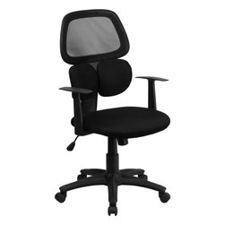 Flash Furniture - Mid-Back Black Mesh Chair with Flexible Dual Lumbar Support - This uniquely designed office chair features dual lumbar support cushions that flex and is extremely comfortable. Chair also features a breathable mesh back, back tilt control and pneumatic seat lift.