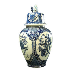 Royal Sphinx Boch - Consigned Vintage Blue Delft Ginger Jar Vase - Product Details