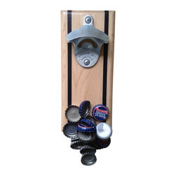 NasonWorks - Handmade Bottle Opener with Magnetic Cap Catcher - A beautiful maple with jet black inlay wall mounted magnetic bottle opener. Made from tough maple and a high powered rare earth magnet, this bottle opener catches and holds dozens of caps and looks great in any kitchen. Great present for a college student or husband or anyone who frequently pops a top. Beautiful maple strips of wood add a great accent to the dark walnut. More styles and options at www.nasonworksopeners.com