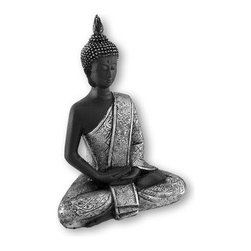 Silvered Sitting Thai Buddha Statue Figure Buddhist - This beautiful cold cast resin Thai Buddha statue is hand-painted with deep bronze and metallic silver enamels to accent the detail of this stunning piece. The Buddha measures 8 1/2 inches tall, 6 inches wide and 3 1/4 inches deep. It looks great in living rooms, offices, bedrooms, even in kitchens.