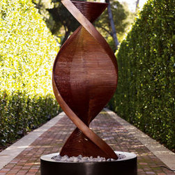 """Twisted Copper Fountain - Intriguing and unique, the """"Twisted Copper Fountain"""" will make a fascinating addition to the garden.  This fountain is made of resin with a copper finish."""