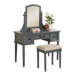 Adarn Inc. - 3 PC Makeup Vanity Set Large Drawer, Swivel Mirror, Bench, Blue-Grey - Construct a special place in your bedroom with this blend of classic and modern designed vanity and stool set. It features an attached mirror, drawer space for storage, and plush stool. Available in blue-grey, black, cherry and white.