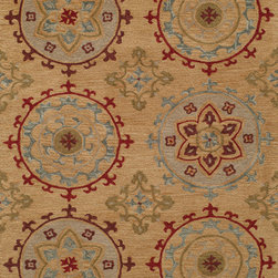 Momeni - Momeni Habitat HB-11 (Gold) 5' x 8' Rug - Habitat features a globally inspired blend of influences, from Ikat, Uzbek Suzani and indigenous craftsman styles. Hand-tufted by expert artisans that encompasses an organic texture and feel. Made of 100% wool fiber, featuring a hard twist construction, this exquisite collection embraces a fashion-forward color palette exhibiting ethnic and nomadic motifs.