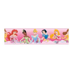 RoomMates Peel & Stick - Dream from the Heart Border - The joy and magic of the Disney Princess characters can now be brought into your room with this peel and stick wall border. Featuring Snow White, Sleeping Beauty, Jasmine, and the rest of your favorite princesses, this beautiful border is the perfect thing to dress up the bedroom of your own little princess.