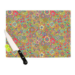 """Kess InHouse - Julia Grifol """"My Butterflies & Flowers in Green"""" Rainbow Floral Cutting Board (1 - These sturdy tempered glass cutting boards will make everything you chop look like a Dutch painting. Perfect the art of cooking with your KESS InHouse unique art cutting board. Go for patterns or painted, either way this non-skid, dishwasher safe cutting board is perfect for preparing any artistic dinner or serving. Cut, chop, serve or frame, all of these unique cutting boards are gorgeous."""