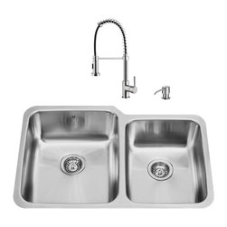"VIGO Industries - VIGO All in One 32-inch Undermount Stainless Steel Kitchen Sink and Faucet Set - Modernize the look of your entire kitchen with a VIGO All in One Kitchen Set featuring a 32"" Undermount sink, faucet, soap dispenser, matching bottom grids and strainers."