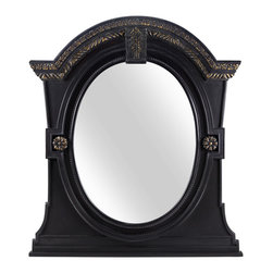 Leo Mirror - Designed to make an impact, our Leo Mirror combines a dark and nuanced wood finish with gold detailing at the top and sides of the mirror. The impressive frame surrounds oval glass that's large enough to reflect light throughout a room.
