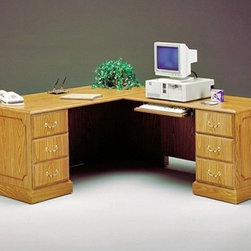 "High Point Furniture - Wyndham Executive L-Shaped Workstation - The Wyndham collection allows you to select high quality, traditionally styled office furnishings at affordable prices. Packed with features and fully assembled, Wyndham is a smart business decision for today""s organizations. Here is another option for the L-shaped workstation. The Wyndham Collection offers a single pedestal desk to be combined with a desk height return with storage pedestal. The workstation has an option for laminate finishes, either Satin Mahogany or a Medium Oak and the hardware is solid metal finished in an antique brass. There is also the option for pedestal side on both the desk and credenza. It is recommended that the desk has a right pedestal while the return has one on the left side. Features: -66"" W single full pedestal desk. -Desk has a box and file drawer with locks for safety and security. -48"" W desk height return has one box and file drawer, locks and a wire management grommet. -Chooses between satin mahogany or medium oak finished laminate to go with metal hardware. -Overall dimensions: 29"" H x 66"" W x 78"" D. Product Specifications: -All panels are 1"" thick with heavy duty adjustable nylon leveling glides. -Modesty panels are a 0.75"" thick core. -Top is 1"" thick MDF surfaced in thermally fused laminate and is properly backed. -Drawer fronts are constructed of 0.75"" thick core with thermally fused laminate on both sides and edge banded as required. -Drawer sides are 0.5"" thick with an oak grained pattern. -Drawer bottoms are 0.13"" thick oak-grain hardboard."