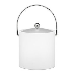 Kraftware - Ice Bucket in White - Chromed bale handle and flat knob. Frosted vinyl lid. Made in USA. 9 in. Dia. x 9 in. H (3 lbs.)Our fun colors collection features the hottest colors for the season, to provide you with great entertaining items, with up to the minute styling. Great for indoor and outdoor entertaining.