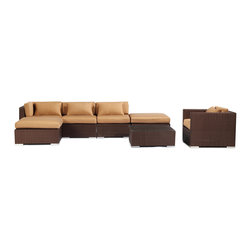 "Kardiel - Modify-It Outdoor Garden Furniture Patio Sofa Sectional Lanai 7pc Wicker, Taupe - Host 6 in comfortable style with the modern Lanai 7-piece set. This set centers around an open-ended ultra stylish chaise sectional.  The backdrop for elegant entertaining is completed with the introduction of a single stand-alone armchair and coordinating tempered glass top coffee table. The flexible nature of Modify-It modular allows for customized reconfiguring of the layout at will. The design origins are Clean European. The elements of comfort are inspired by the relaxed style of the Hawaiian Islands. The Aloha series comes in many configurations, but all feature a minimalist frame and thick, ample modern cube cushions. The back cushions are consistent in shape, not tapered in to create the lean back angle. Rather the frame itself is specifically ""lean tapered"" allowing for a full cushion, thus a more comfortable lounging experience. The cushion stitch style utilizes smooth and clean hand tailoring, without extruding edge piping. The generously proportioned frame is hand-woven of colorfast, PE Resin wicker. The fabric is Season-Smart 100% Outdoor Polyester and resists mildew, fading and staining. The ability to modify configurations may tempt you to move the pieces around... a lot. No worries, Modify-It is manufactured with a strong but lightweight, rust proof Aluminum frame for easy handling."