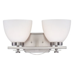 Nuvo - Two Light - Vanity Fixture - Brushed Nickel Finish with Frosted Glass - Shade: Frosted Glass.  Bulb Info: 2 x 100W Medium Base A19 Incandescent (Bulb Not Included).  Style: Contemporary.  UL Certified: Damp Location.  . Color/Finish: Brushed Nickel. 7.88 in. L x 15.25 in. W x 8 in. H (6.95 lbs)Would you call them classic or contemporary?  Simple or stylish?  Elegant or understated?  Probably all of the above.  The Bentley collection is nothing if not versatile.  With chandeliers, semi-flush domes, pendants and one to three light vanities, beautifully finished in brushed nickel or hazel bronze and accented by frosted glass, there is a Bentley fixture to add just the right design touch to any kitchen, bath or dining room.