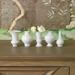 """Global Views - Global Views Williamsburg Mini Chinoise Vase Set - Sold as a set from Global Views, these 5 glossy white mini vases by Williamsburg are a charming addition to a mantel or bookcase. Their classic silhouettes complement modern and traditional design. 3"""" Dia. x 4""""H; Finished with glossy white glaze; Sold as set of 5"""