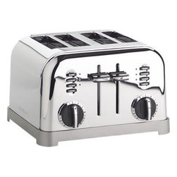 "Cuisinart® Classic 4-Slice Toaster - Modern function with a retro, commercial look for your kitchen counter. Features include six-setting browning dials, 1�""-wide slots, lift-lever for small items, slide-out crumb tray, defrost and bagel buttons with LED indicators."