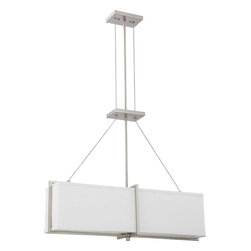 Brushed Nickel Energy Star 4 Light Chandelier/Pendant With Gray Shade - Condition: New - in box
