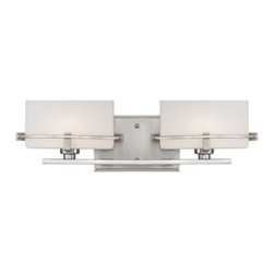 Quoizel Nolan NN8602 Bath Fixture - 19W in. - The Quoizel Nolan NN8602 Bath Fixture - 19W in. features a unique design with two elliptical opal-etched glass shades in a steel frame. Available in your choice of finish to suit your decor, this bath fixture has a beautiful, architecturally-inspired style. It uses two G9 halogen bulbs (included).About Quoizel LightingLocated in Charleston, South Carolina, Quoizel Lighting has been designing timeless lighting fixtures and home accessories since 1930. They offer a distinctive line of over 1,000 styles, including chandeliers, lamps, and hanging pendants. Quoizel Lighting is the perfect way to add an inviting atmosphere to any area in your home, both indoors and out.