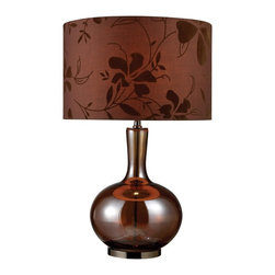 Dimond - Dimond Fairview Transitional Table Lamp X-3061D - A warm brown drum shade with a shadow-style floral pattern adds texture to a classically stylized look on this Dimond Lighting table lamp. From the Fairview Collection, this transitional table lamp features an onion shaped base with an elongated slender neck, done in beautiful shades of brown glass and Bronze finishing to match the fabric diffuser.