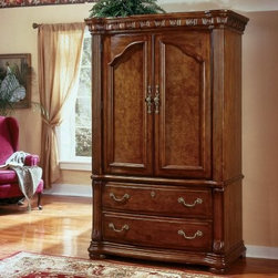 Cordoba Armoire - The Cordoba Armoire is a classic boudoir design that's a perfect fit for your modern bedroom. Pine solids with an Asian burl veneer make up the bulk of this piece. Choose either an antiquo blanco or a burnished pine finish to complete the piece. Two storage drawers (with wrought iron accents) are built into the design along with the large two-door storage compartment, making this the ideal place for the best of your wardrobe. Bring this strong piece into your home and watch it transform your bedroom set into something spectacular.About Wynwood FurnitureAt Wynwood, designing unique and useful furniture is the goal. The company's own fashion consultants scour the globe for distinctive woods and eye-catching designs before bringing their findings back home to talented designers who set about creating beautiful pieces. The designs are then moved into production, where Wynwood specializes in ensuring all collections are both stunning and useful, giving every piece a thorough going-over that results in inimitable style, impeccable construction, and unequaled functionality.