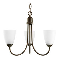 Progress Lighting - Gather Antique Bronze Three-Light Medium Base Chandelier with Etched Glass Shade - - Three-light chandelier with etched glass  - Antique Bronze  - Over all Length: 60-Inch  - Product Width: 18.5  - Product Height: 15  - Product Weight: 16  - Product Dept: 18.5  - Wire Length: 96-Inch  - Material: Steel  - Bulb NOT included Progress Lighting - 944440-20