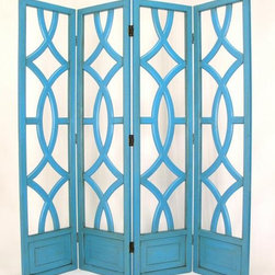 Wayborn - Charleston 4 Panel Screen in Teal Blue - Teal Blue Finish. 4 Panels with open cut out design. Room divider does not have fabric. Modern twist to the traditional Japanese Shoji design. Abstract circular design. Made from solid Basswood. Antiqued with a smooth finish. 72 in. W x 76 in. H (84 lbs.)