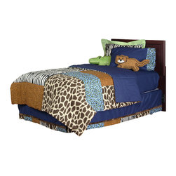 "Jazzie Jungle Boy - Full Set (4pc no sheets) - This Full 4pc set includes:  full comforter, full bed skirt and (2) standard flanged sham.  (SHEETS SOLD SEPARATELY) Comforter is reversible -- giving room a completely different look and feel!  Comforter front is a patchwork design using all the collections fun animal fabrics -- ""Cheetah Blue"", ""Giraffe"", ""Cheetah"" and ""Zebra"".  Opposite side designed in solid navy throughout.   Bed skirt is designed with navy cotton fabric and trimmed in all the ""animal"" prints available in this collection.  Jazzie Jungle standard flanged sham is designed using our ""Zebra"" fabric and framed in the collections green.  Both cotton print fabrics.   SAVE WHEN YOU BUY AS A SET!"
