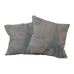 "Best Selling Home Decor - 18"" Embroidered Eiffel Tower Pillows (Set of 2) - Give your home an update with this attractive pillow set. These pillows feature a linen blend cover for soft elegance. Set includes: Two pillows; Pattern: Embroidered Eiffel Tower; Color options: Beige, Blue; Cover closure: Hidden zipper closure; Edging: Knife edge; Pillow shape: Square; Dimensions: 18 inches wide x 18 inches long; Cover: Linen Blend; Fill: 100-percent Polyester; Care instructions: Spot clean with a damp cloth."