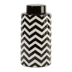 "IMAX - Chevron Large Canister w/ Lid - The most popular twist on stripes covers this large lidded canister that looks great in a variety of spaces. Item Dimensions: (12.25""h x 6.25""w x 6.25"")"