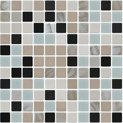 "Susan Jablon Mosaics - Sea Foam Green Grey And Black Glass Tile Mix - This glass tile blend is a mix of 1"" 100% recycled glass tiles made from crushed car windshields. This glass tile blend is truly a fantastic companion to your black, white or grey marble swirl counter top. Easy to install and keep sparkliing clean!It is very easy to install as it comes by the square foot on mesh and it is very easy to clean! About a decade ago, Susan Jablon re-ignited her life-long passion for mosaics and has built a customer-focused, artist-driven, business offering you the very best in glass and decorative tiles and mosaics. We are a glass tile store committed to excellence both personally and professionally. With lines of 100% SCS Qualified recycled tile, 12 colors and 6 shapes of mirror, semi precious turquoise stones from Arizona mines, to color changing dichroic glass. Stainless steel tiles in 8mm and 4mm and 12 designs within each, and anything you can dream of."