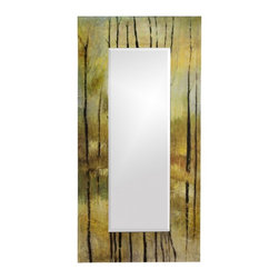 Howard Elliott - Delilah Rectangular Multi-Color Mirror - Our Delilah Mirror features a Tree Branch Design of greens and browns in a watercolor effect accented with black lacquered trees.