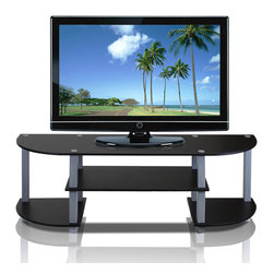 Furinno - Furinno 11058 Turn-S-Tube Wide TV Stand, Black/Grey - Furinno Turn-N-Tube Home Living Mini Storage and Organization Series: No Tools Entertainment Center . (1) Unique Structure: Open display rack, shelves provide easy storage and display of TV or other audio/video accessories. Suitable for any rooms. Designed to meet the demand of low cost but durable and efficient furniture. It is proven to be the most popular RTA furniture due to its functionality, price, and the no hassle assembly. (2) Smart Design: Easy Assembly and No tools required. A smart design that uses durable recycled PVC tubes and engineered particleboard that withstand heavy weight. Just repeat the twist, turn and stack mechanism, and the whole unit can be assembled within 10 minutes. Experience the fun of D-I-Y even with your kids . (3) The  Particleboard is manufactured in Malaysia and comply with the green rules of production. There is no foul smell, durable and the material is the most stable amongst the particle boards. The PVC tube is made from recycled plastic and is tested for its durability. A simple attitude towards lifestyle is reflected directly on the design of Furinno Furniture, creating a trend of simply nature. All the products are produced and assembled 100-percent in Malaysia with 95% - 100% recycled materials. Care instructions: wipe clean with clean damped cloth. Avoid using harsh chemicals.  Pictures are for illustration purpose. All decor items are not included in this offer.