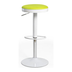 Inmod Signature - Lollipop Stool (Set of 2), Green - Here's the cool stool to call on wherever you want counter seating. A comfortable, colorful seat upholstered in breathable nylon mesh rests on a sturdy steel base. A flick of the foot lets you get the height just right.